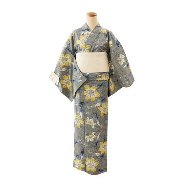 【浴衣プレタ】女性 『紬ゆかた』百合 黄色差  <Mサイズ>