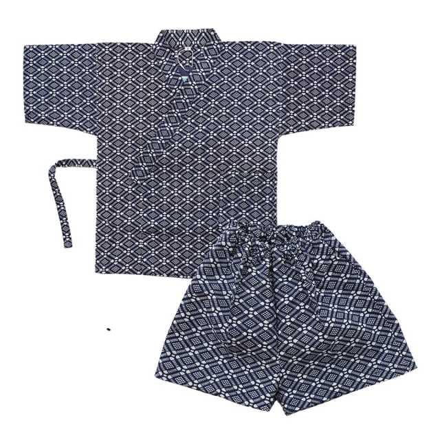 【子供甚平】3~4才 格子蜀江文 紺
