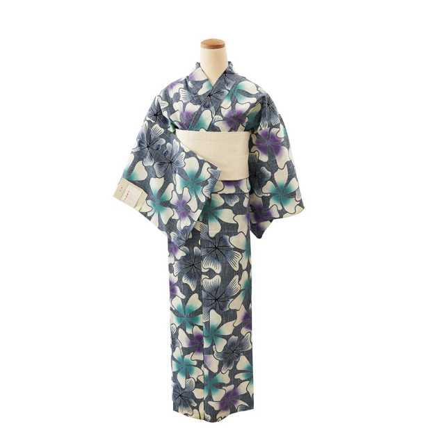 【浴衣プレタ】女性 『紬ゆかた』蔓桔梗 青紫  <Mサイズ>