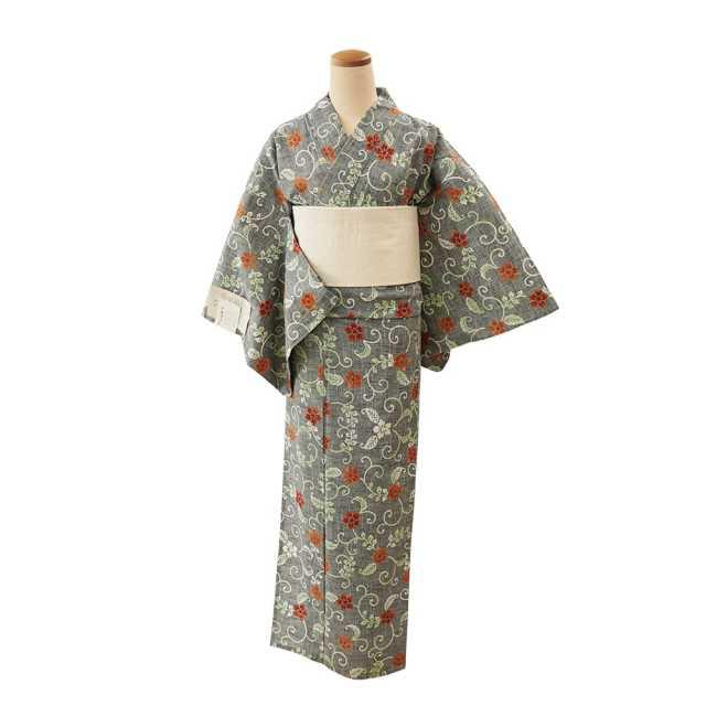 【浴衣プレタ】女性 『紬ゆかた』桔梗唐草  <Mサイズ>