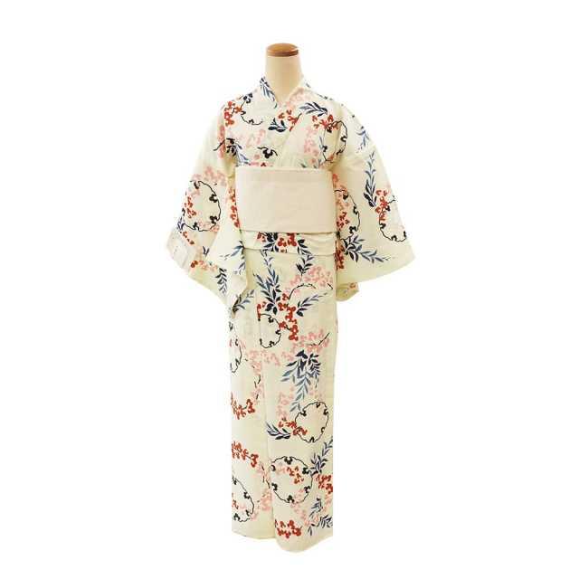 【浴衣プレタ】女性 『玉むし:綿芭蕉』小花に雪輪 <Mサイズ>