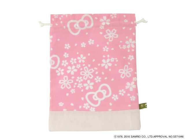 【コラボ巾着】 『ハローキティ』巾着袋小 幸せ舞う桜キティリボン