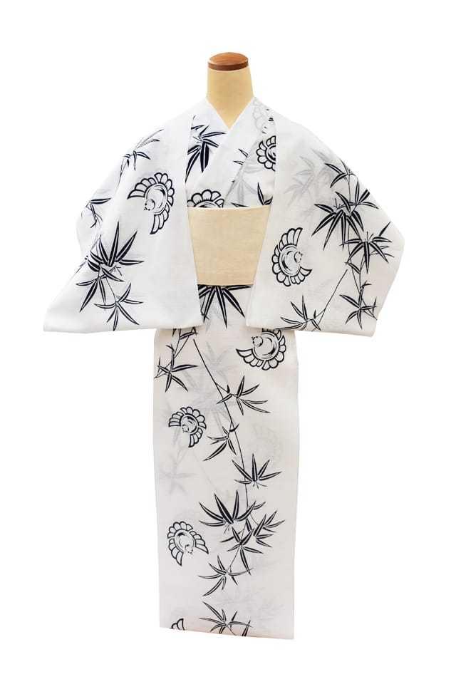 【反物】女性 『綿絽白地』竹に福良雀