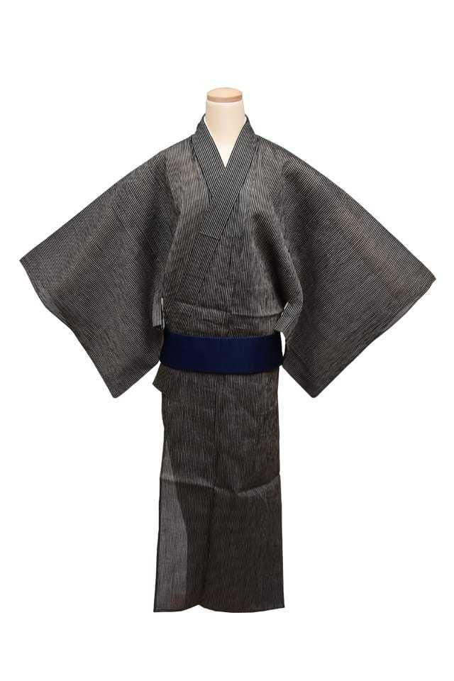 【通販限定浴衣プレタ】 男性 麻着尺 縞 黒 ベージュ LLサイズ