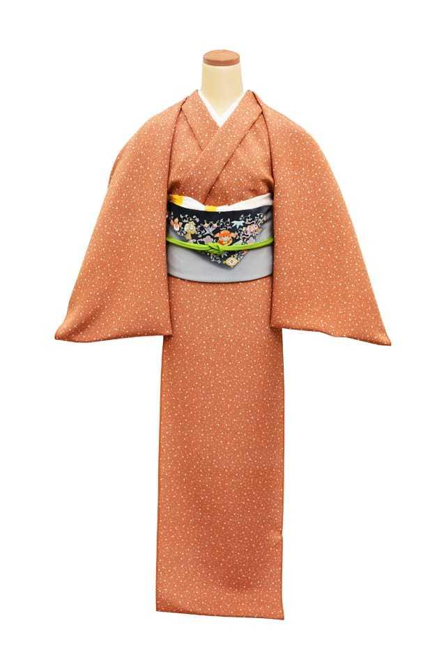 『江戸小紋』 大小霰 柿色