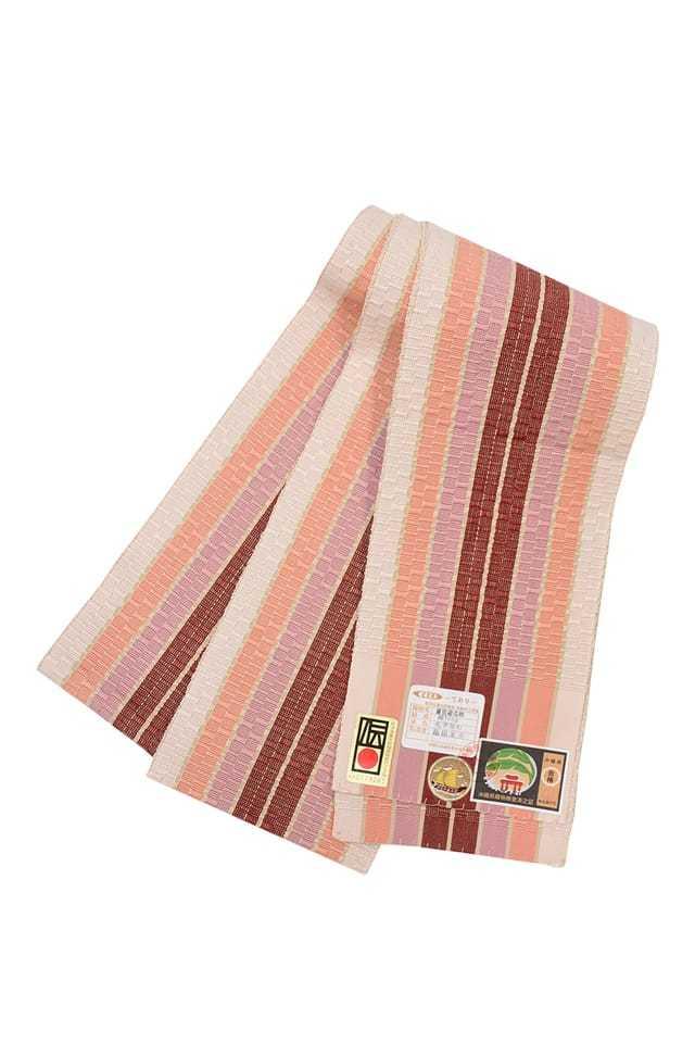 【道屯花織半巾帯】ベージュ地 橙ピンク臙脂縞