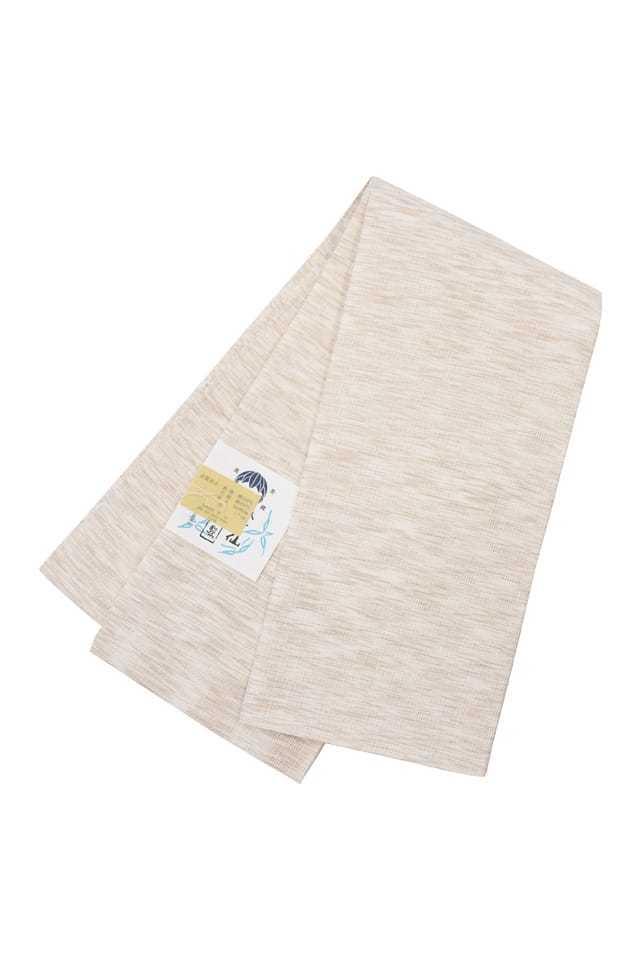 【麻市松半巾帯】絣入り生成