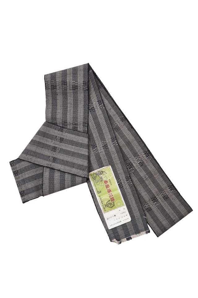 【花織角帯(絹)】グレー地黒茶縞