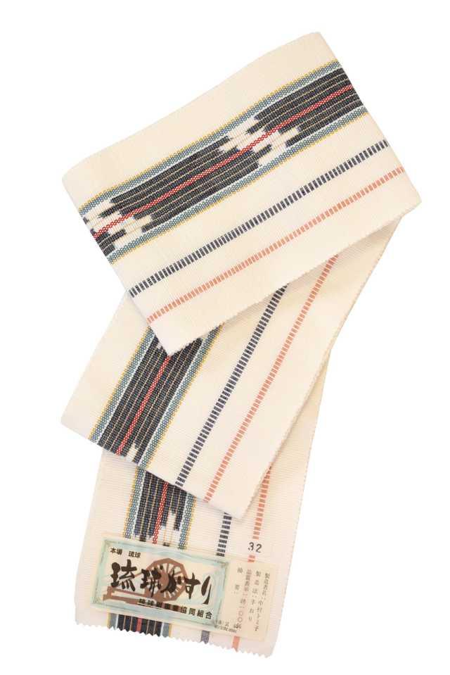 【琉球かすり半巾帯】白地グレー