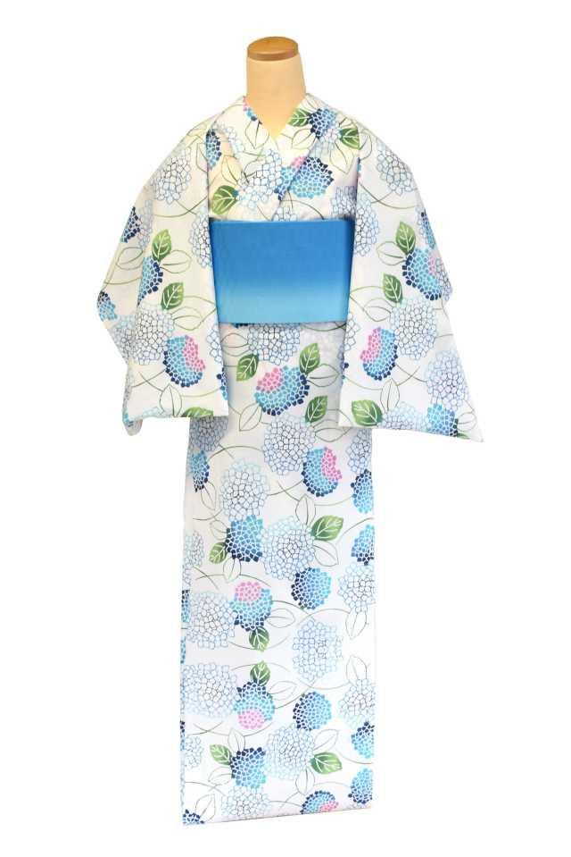 【反物】女性 『コーマ白地』紫陽花 差分