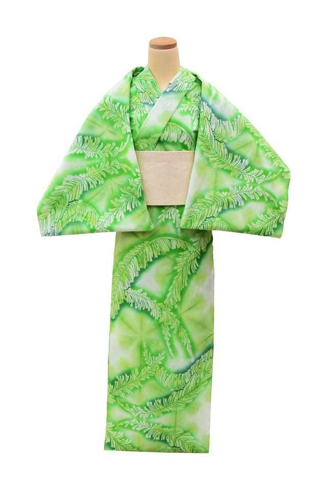 【通販限定浴衣反物】女性 『板締ゆかた:キングサイズ』芭蕉の葉 グリーン