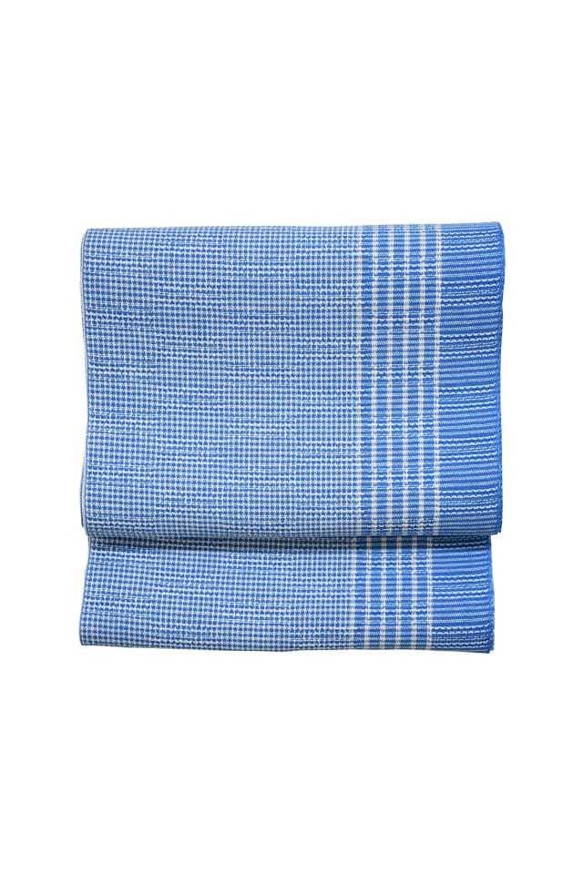 【麻織八寸帯】片寄縞 ブルー