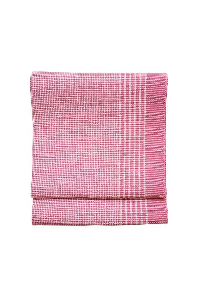 【麻織八寸帯】片寄縞 ピンク