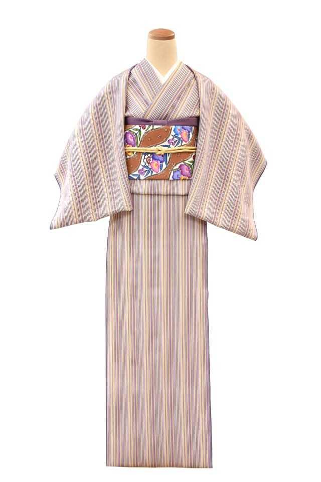 『江戸小紋』唐桟縞三遍型 紫・黄・小豆色