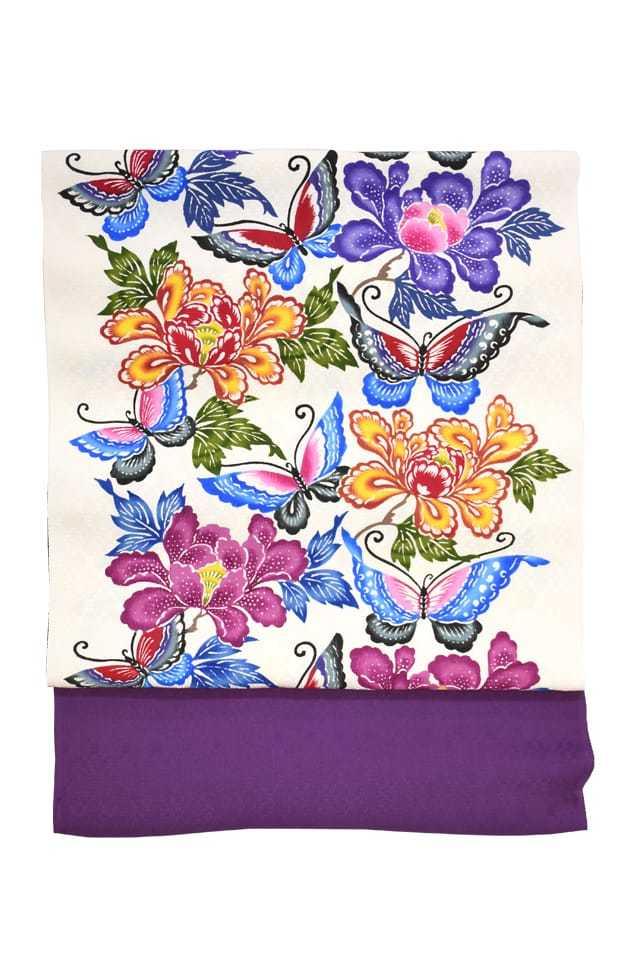 『染名古屋帯』琉球紅型帯 白地紫 牡丹と蝶