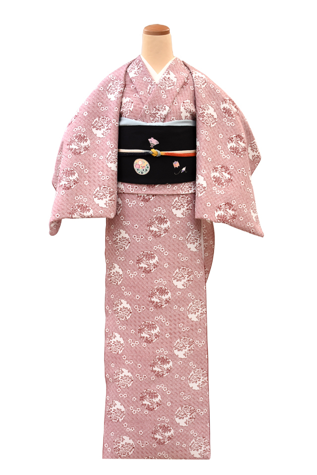 『文久小紋』雪輪に桜牡丹 臙脂色