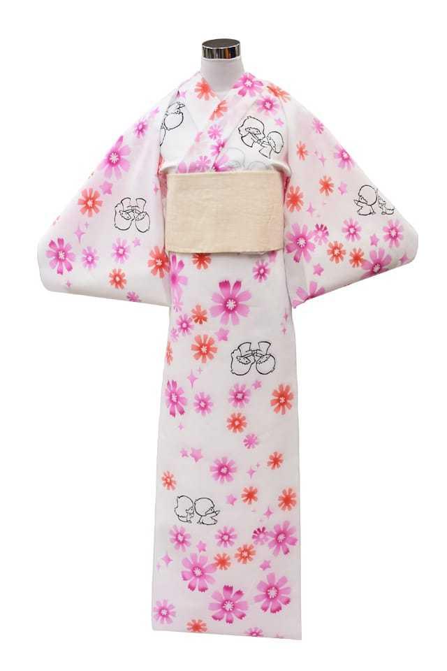 【コラボ反物】 『キキララ』コーマ白地 ピンク花