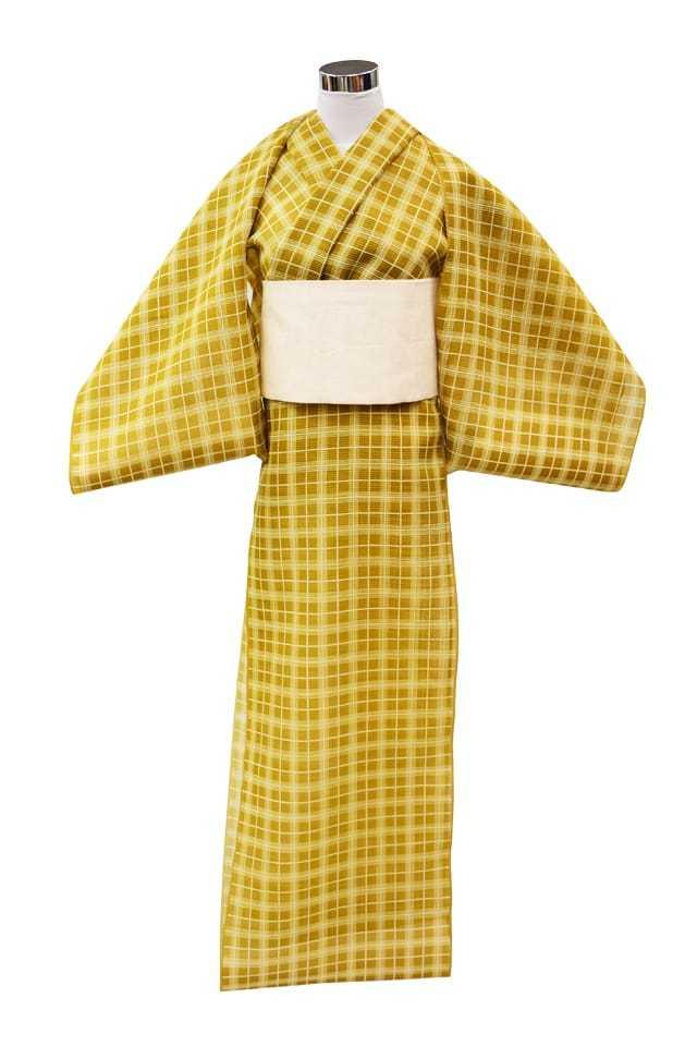 【反物】女性 『絹紅梅』格子重ね 黄金色
