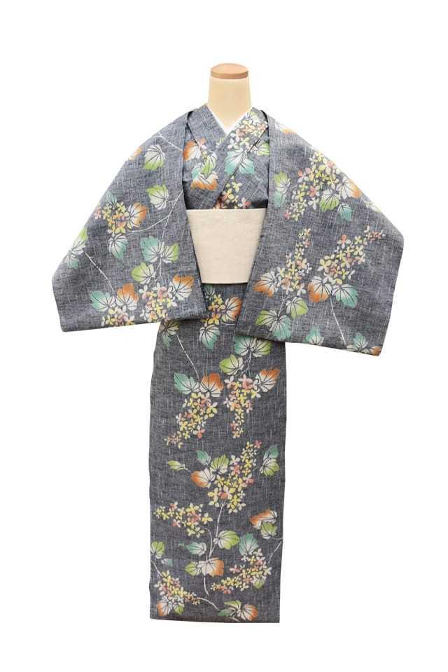 【反物】女性 『紬ゆかた』 柏葉紫陽花