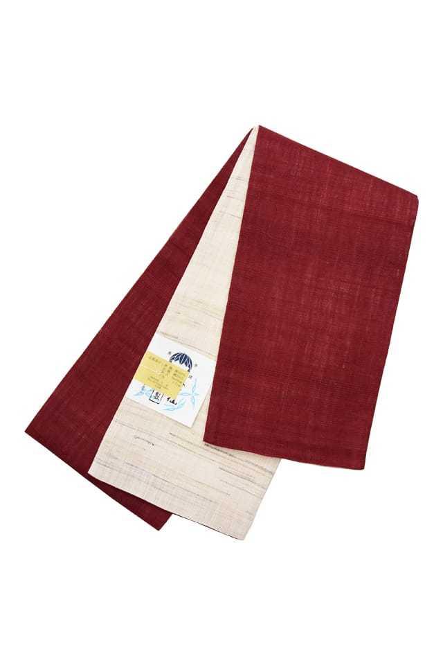 【麻半巾帯】 臙脂×生成