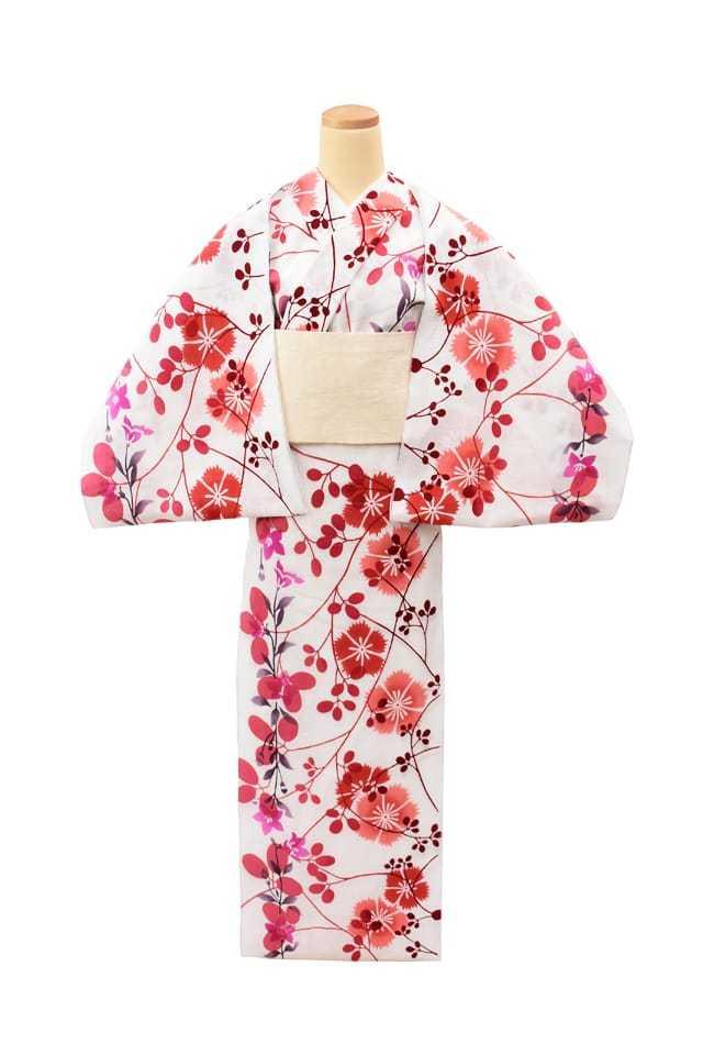 【反物】女性 『玉むし』白紬 萩撫子桔梗 赤