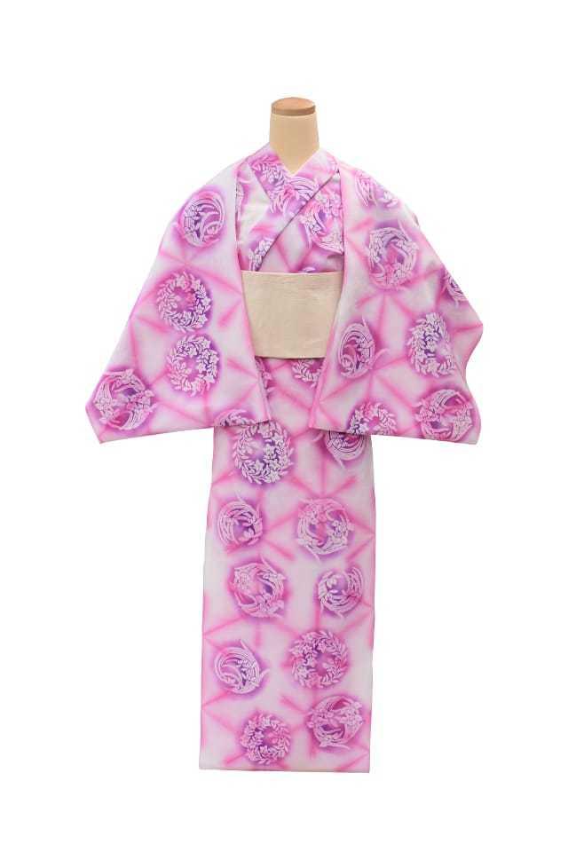 【通販限定浴衣反物】女性 『板締ゆかた:キングサイズ』花の丸 ピンク