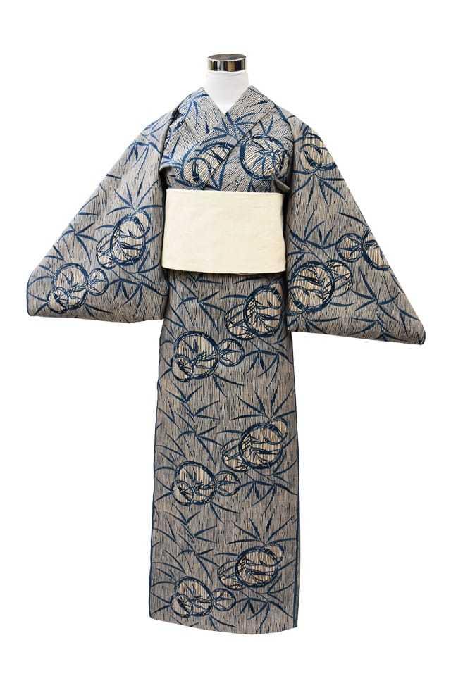 【反物】女性 『奥州小紋』竹の丸に笹
