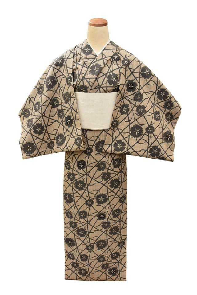 【反物】女性 『松煙染小紋』撫子と竹節