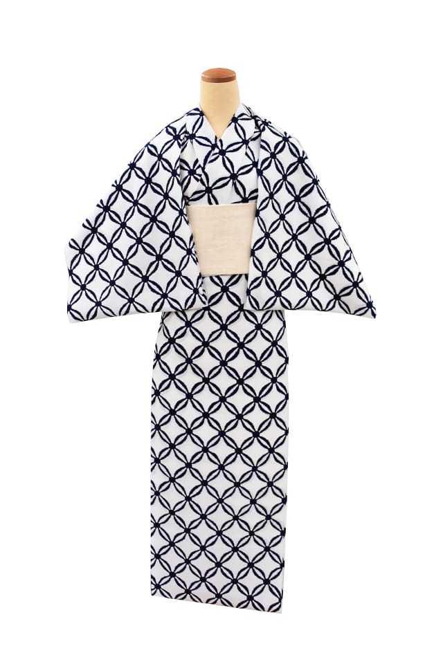 【反物】女性 『コーマ白地』絣七宝繋