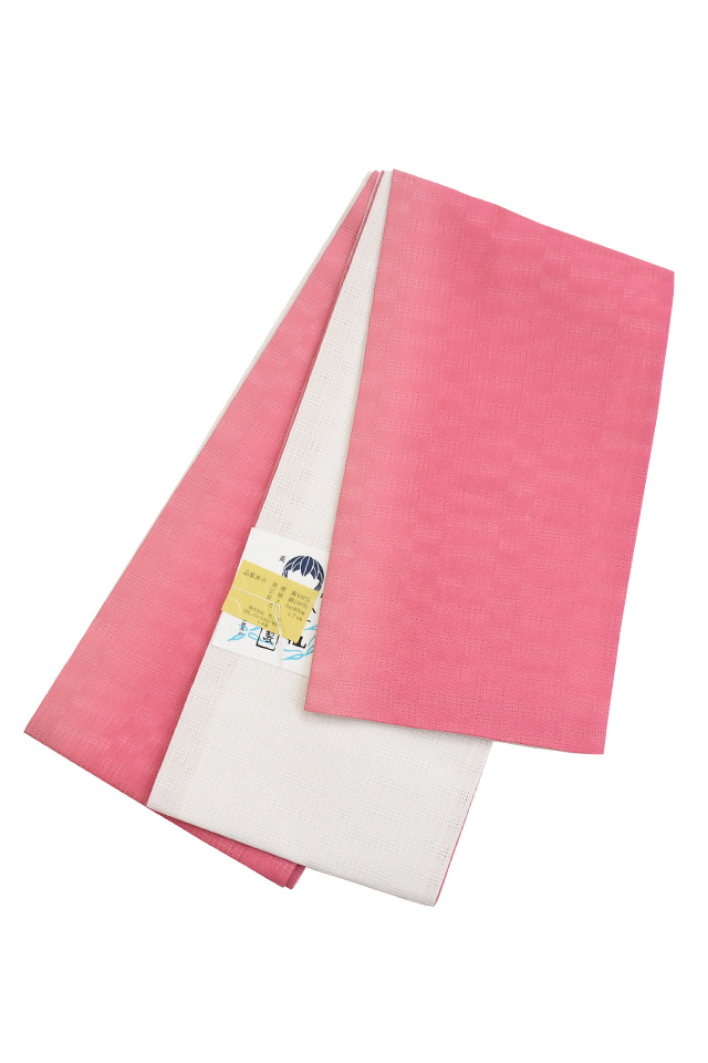 【麻市松半巾帯】 ピンク×白