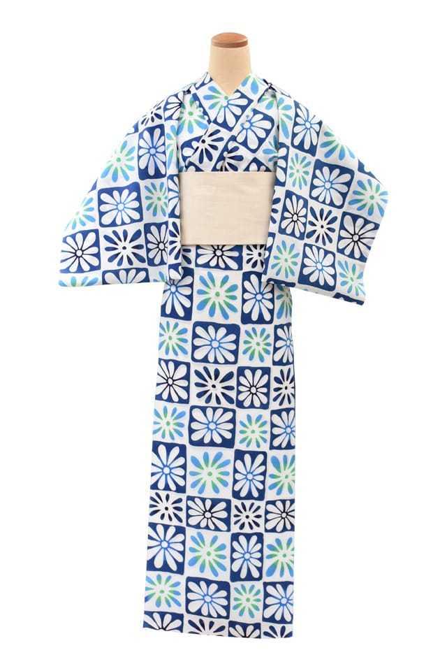 【通販限定浴衣反物】女性 『コーマ白地』市松取り花模様 青