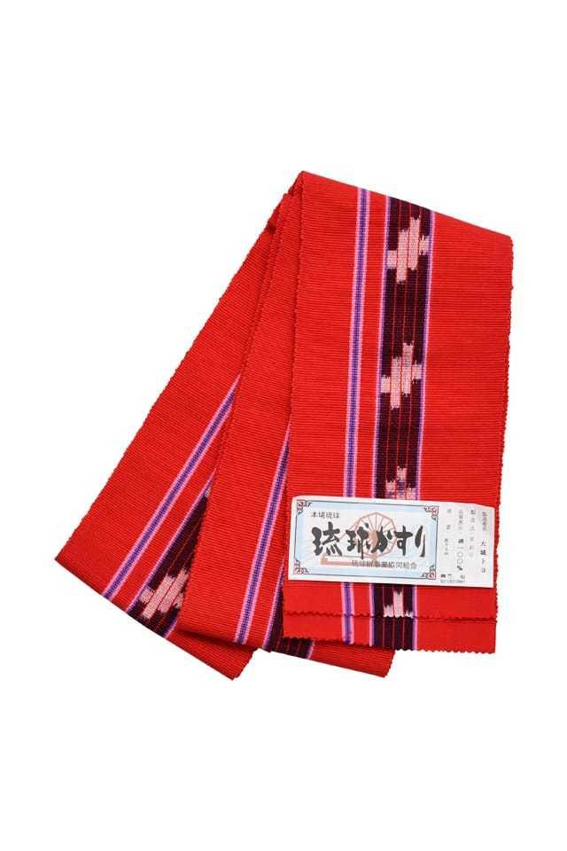 【琉球かすり半巾帯】 赤地紺白絣ブルー縞