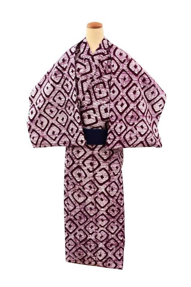 【反物】男性 『ローケツ男物』疋田鹿の子 小豆色
