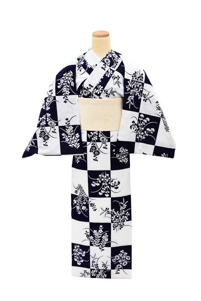 【反物】女性 『コーマ白地』市松に秋草