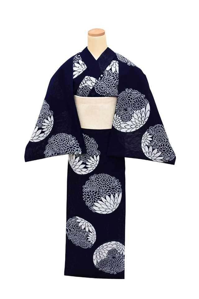 【反物】女性 『綿絽地染』菊花丸