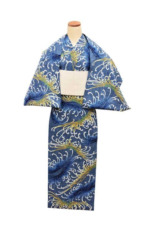 【反物】女性 『紬ゆかた』 糸菊 ブルー地 黄青差分