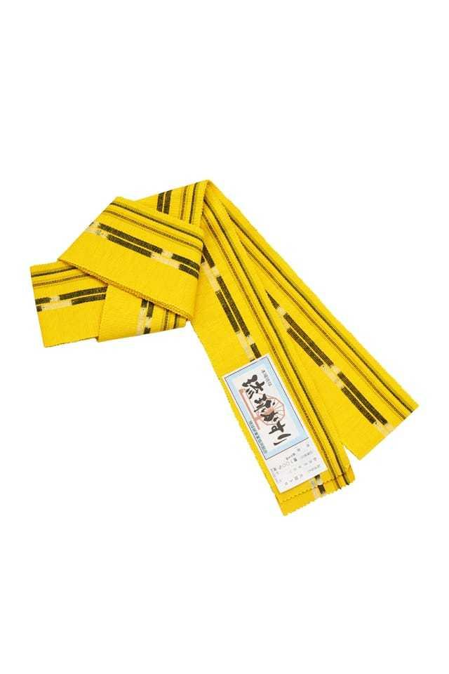 【琉球かすり男帯】 黄色地 墨黒