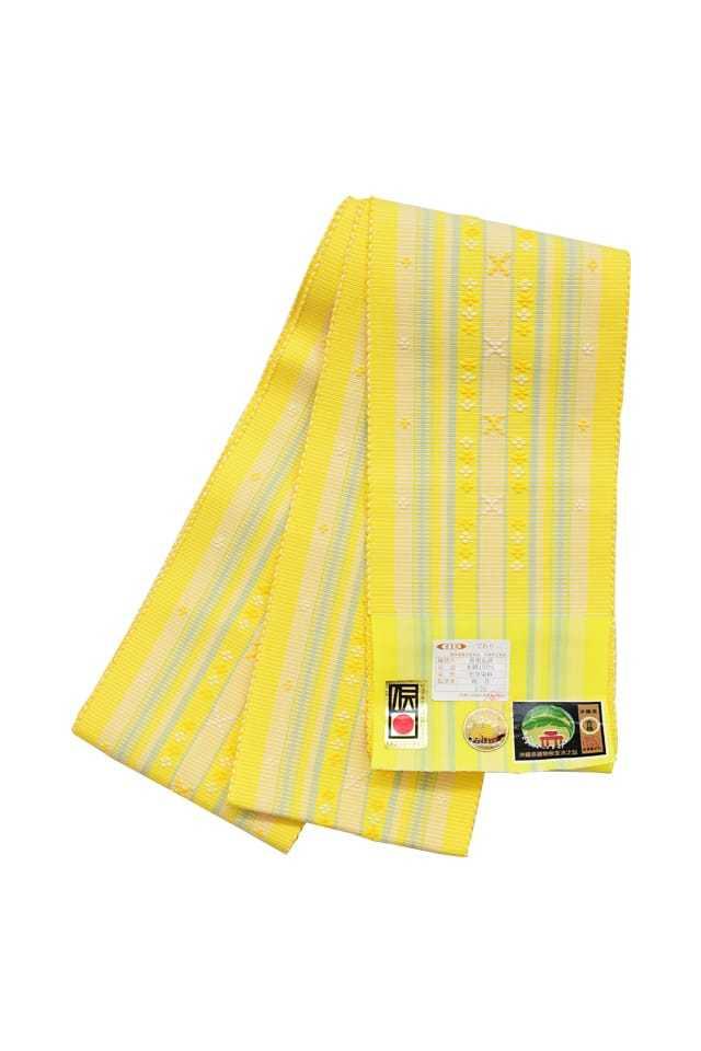 【道屯花織半巾帯】 黄色地 ミント 横縞