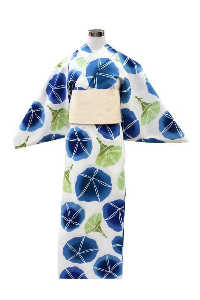 【通販限定浴衣反物】女性 『コーマ白地』朝顔 ブルーグリーンぼかし