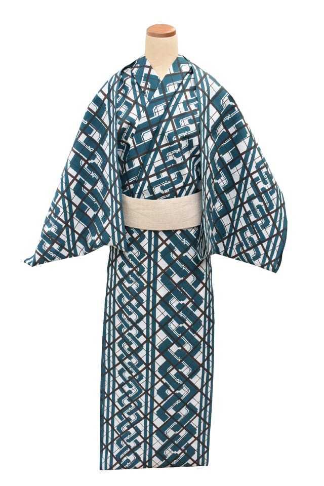 【反物】男性 『細川クレヤーキング』白紬 斜め格子に吉原繋ぎ