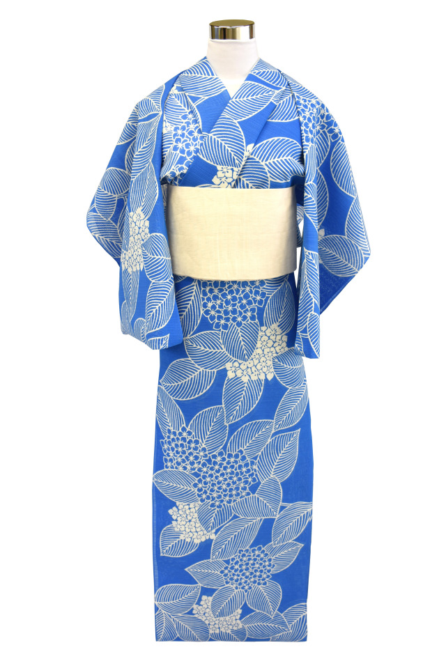 【反物】女性 『綿絽地染』ブルー地紫陽花