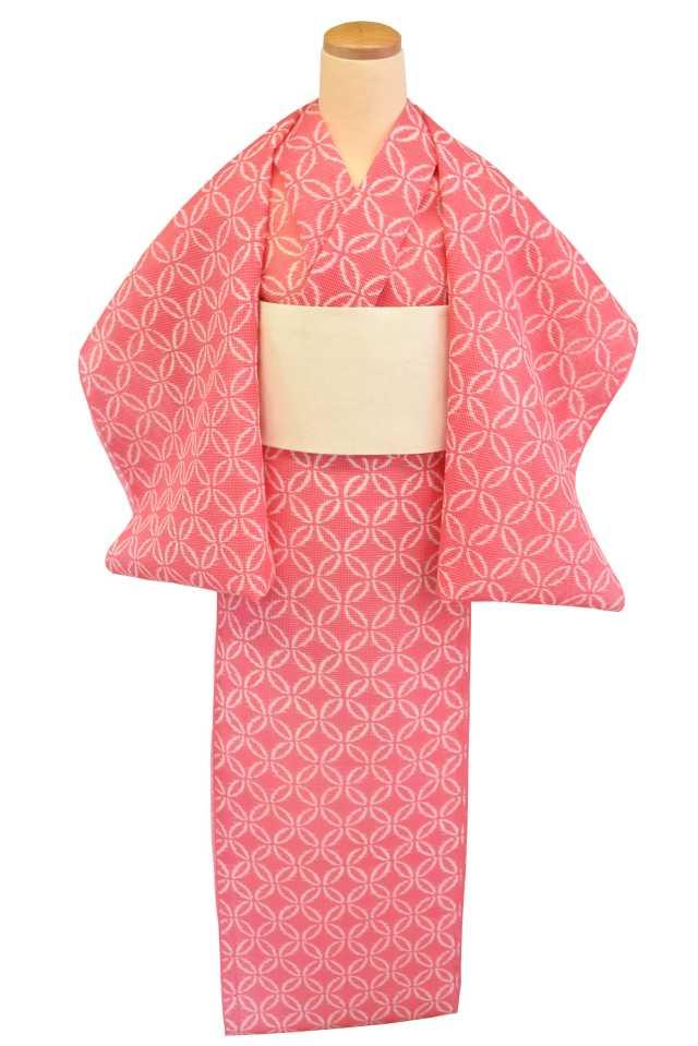 【反物】女性 『絹紅梅』ピンク地絣七宝繋