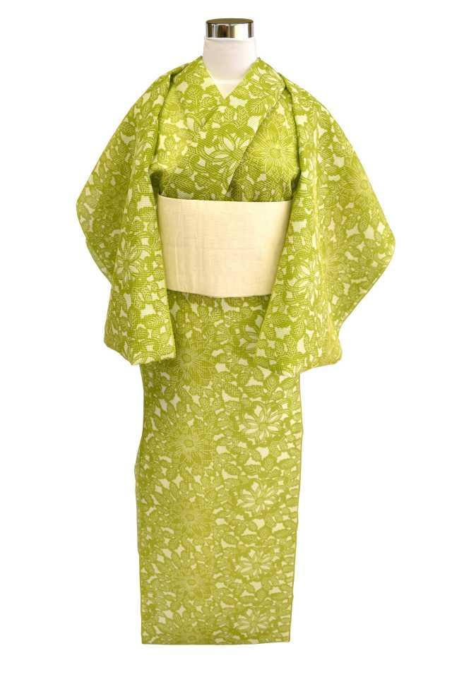 【反物】女性 『絹紅梅』鶸色菊花模様