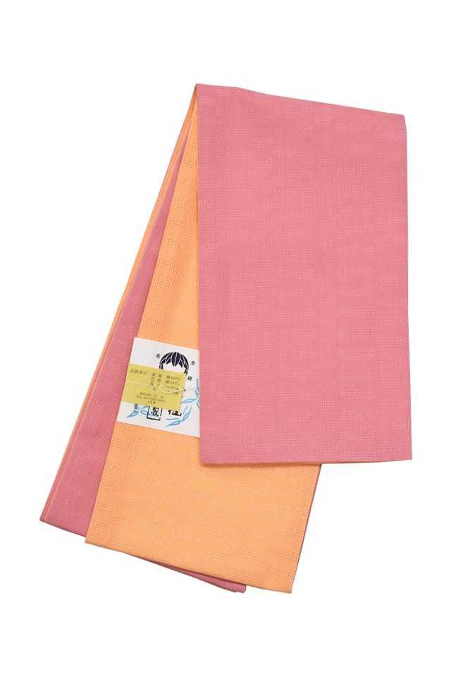【麻市松半巾帯】 ピンク×オレンジ