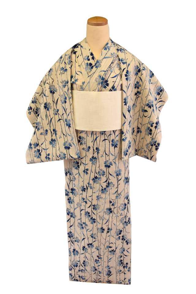 【反物】女性 『玉むし』茶紬 ブルーぼかし撫子