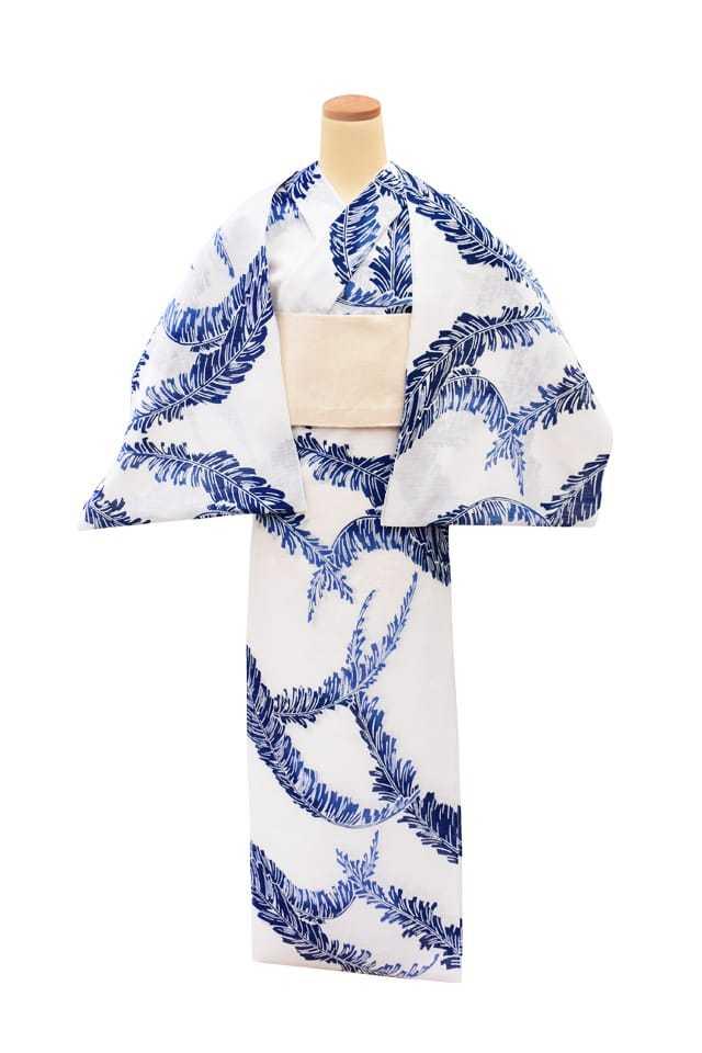 【反物】女性 『綿絽白地』芭蕉の葉 ブルーぼかし