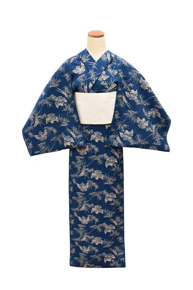【反物】女性 『奥州小紋』福良雀に竹と笹