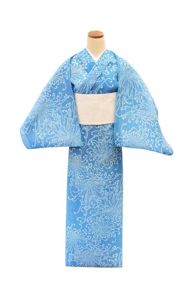 【反物】女性 『絹紅梅』糸菊 ブルー地