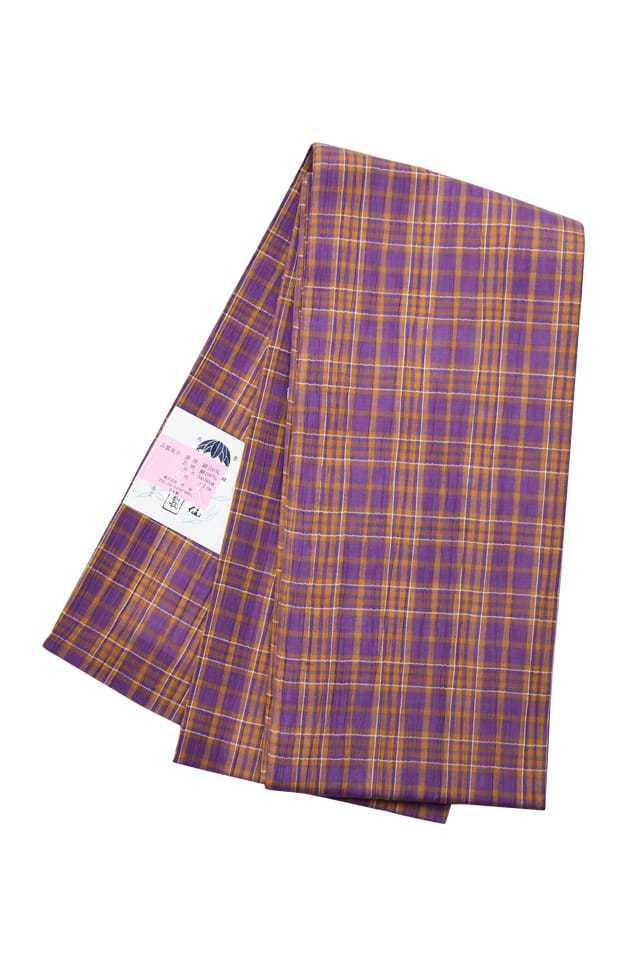 【明石半巾帯】 紫オレンジ格子