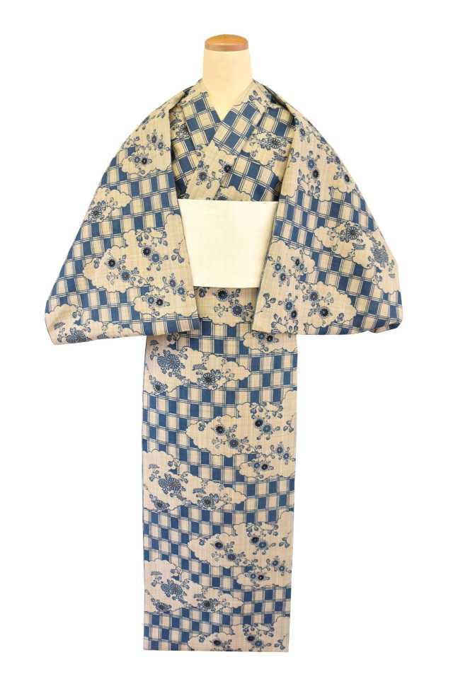 【反物】女性 『奥州小紋』変わり市松雲取り菊模様